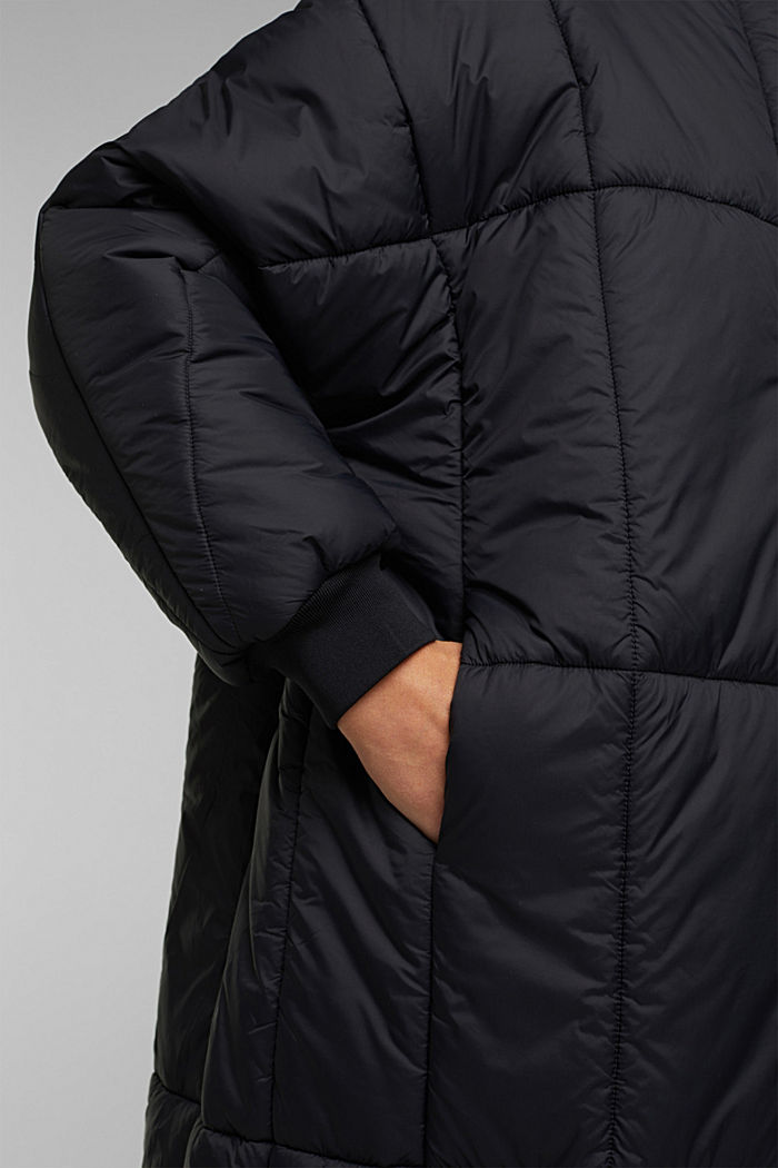 Recycled: padded, oversized quilted coat, BLACK, detail image number 5