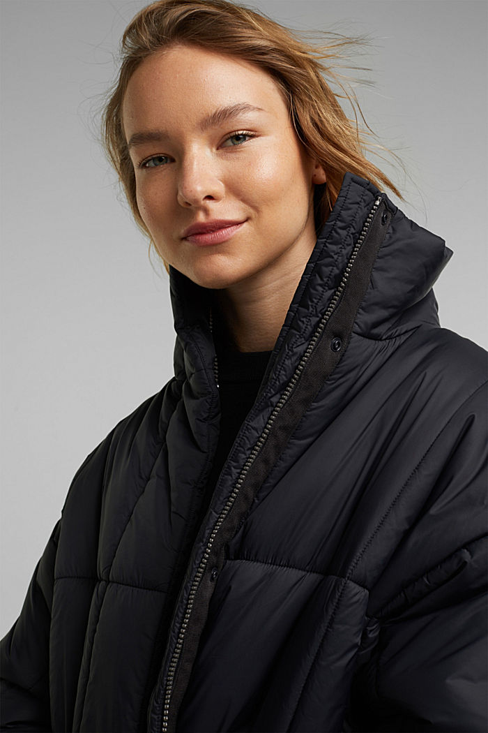 Recycled: padded, oversized quilted coat, BLACK, detail image number 6