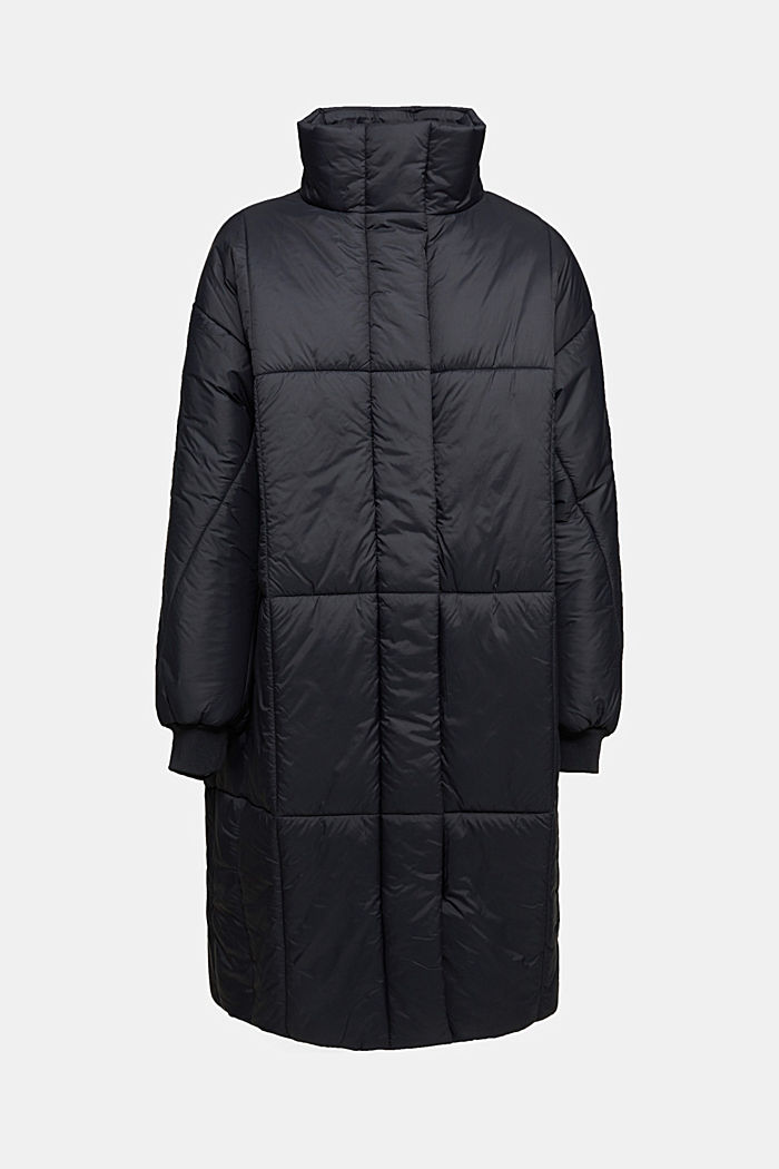 Recycled: padded, oversized quilted coat, BLACK, detail image number 7