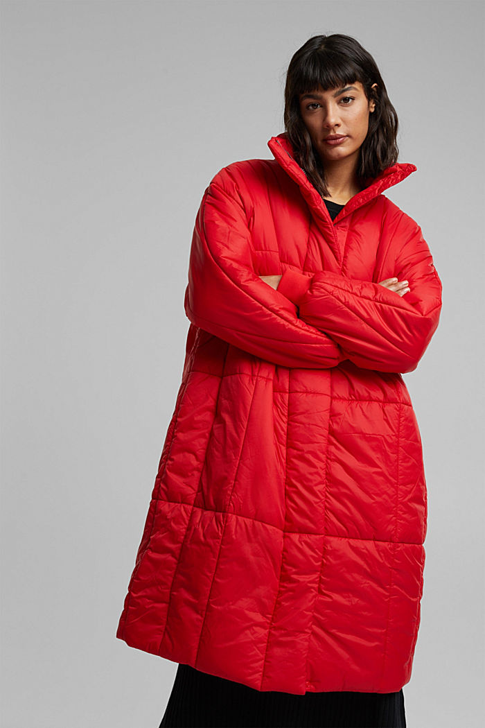 Recycled: padded, oversized quilted coat, RED, detail image number 0