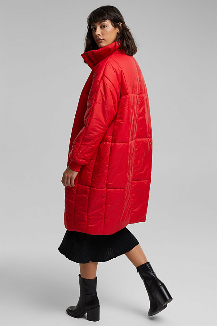 Recycled: padded, oversized quilted coat, RED, detail image number 3