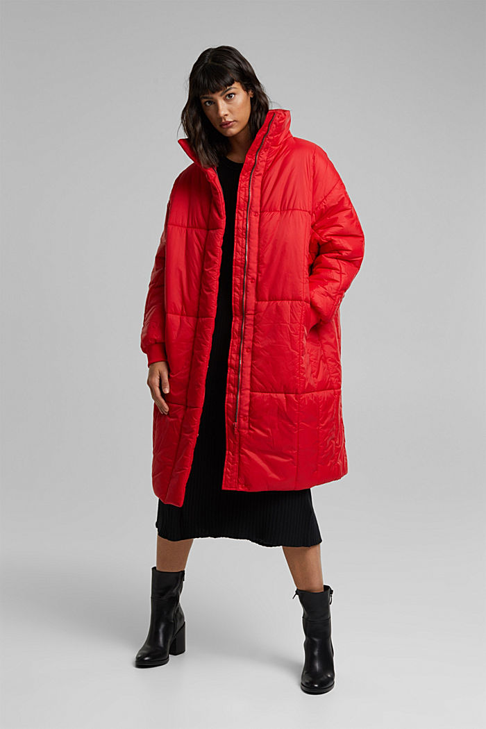 Recycled: padded, oversized quilted coat, RED, detail image number 1