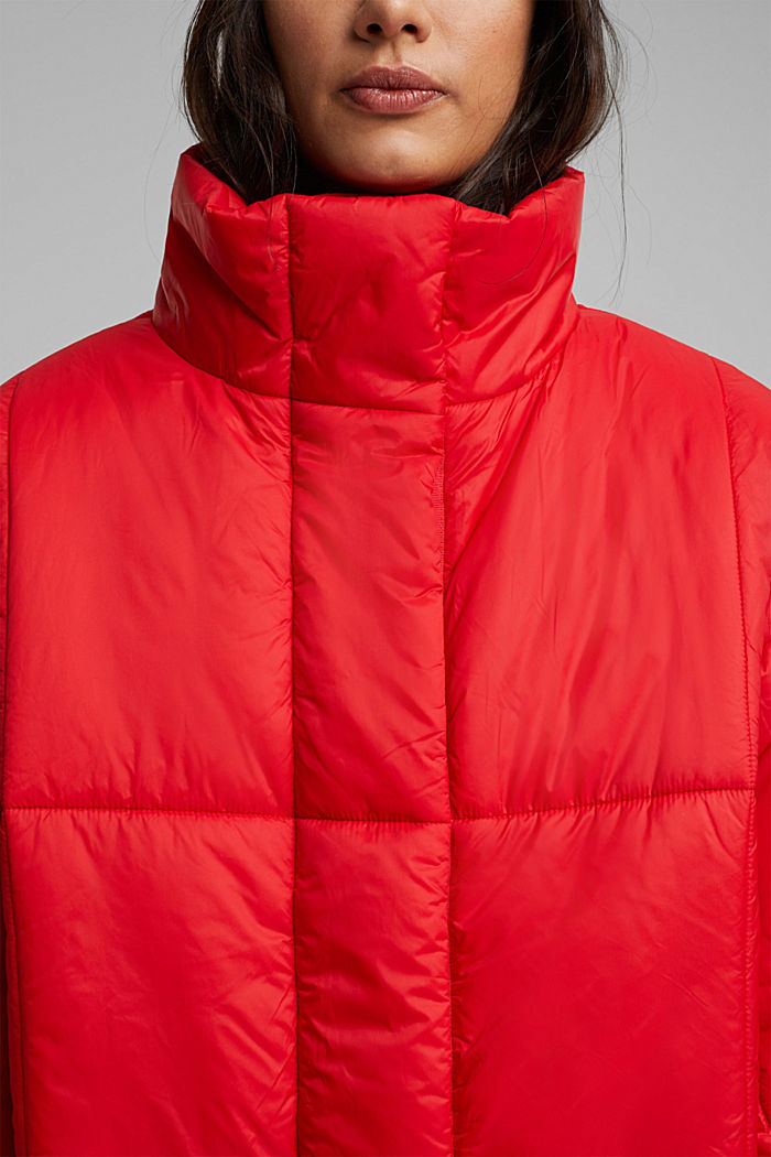 Recycled: padded, oversized quilted coat, RED, detail image number 2