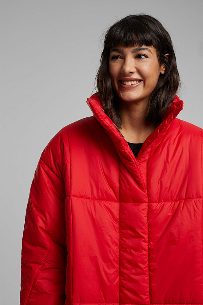 Recycled: padded, oversized quilted coat, RED, detail image number 5