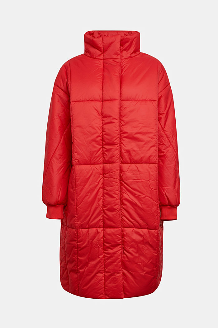 Recycled: padded, oversized quilted coat, RED, overview