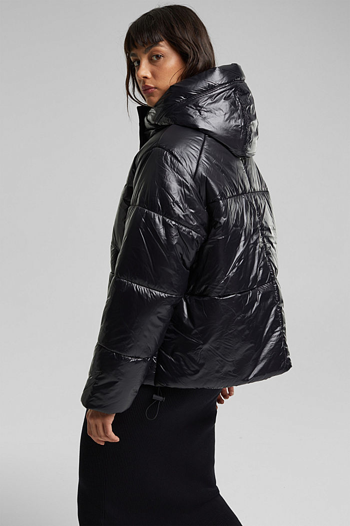 100% recycled: quilted jacket with a hood, BLACK, detail image number 3