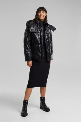 100% recycled: quilted jacket with a hood, BLACK, detail