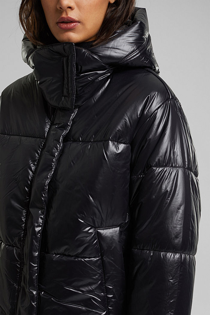 100% recycled: quilted jacket with a hood, BLACK, detail image number 2