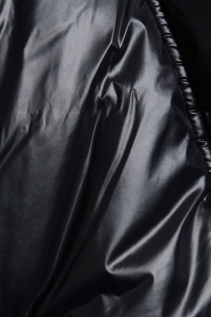 100% recycled: quilted jacket with a hood, BLACK, detail image number 4