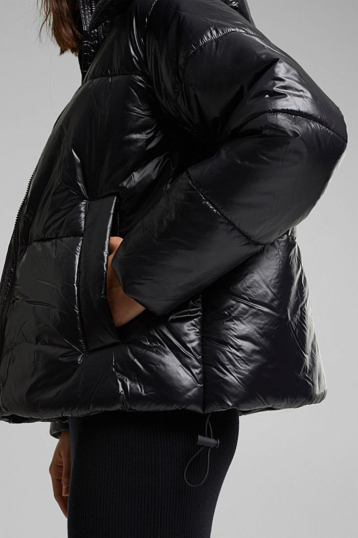 100% recycled: quilted jacket with a hood, BLACK, detail image number 6