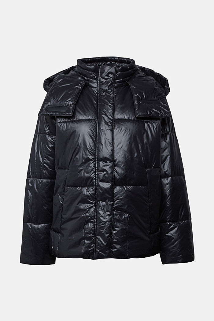 100% recycled: quilted jacket with a hood, BLACK, detail image number 9