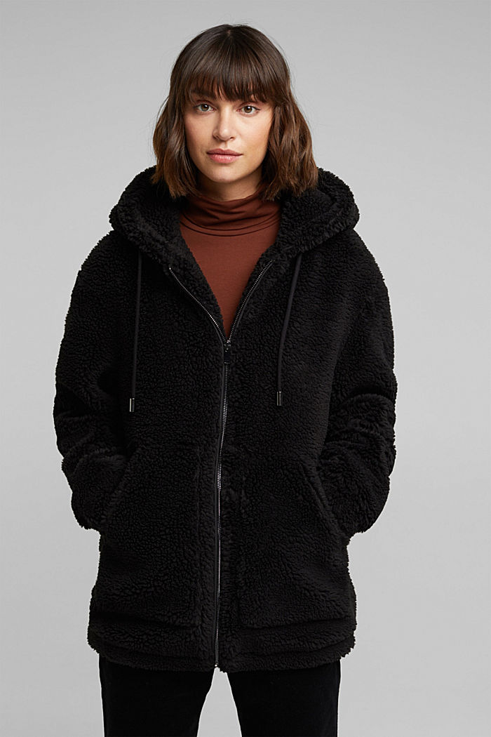 Teddy jacket with a hood, BLACK, detail image number 0