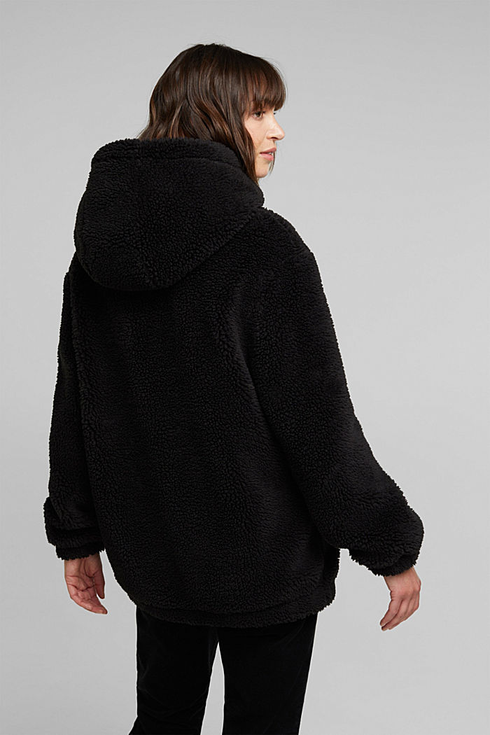 Teddy jacket with a hood, BLACK, detail image number 3