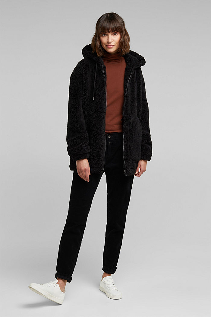 Teddy jacket with a hood, BLACK, detail image number 1