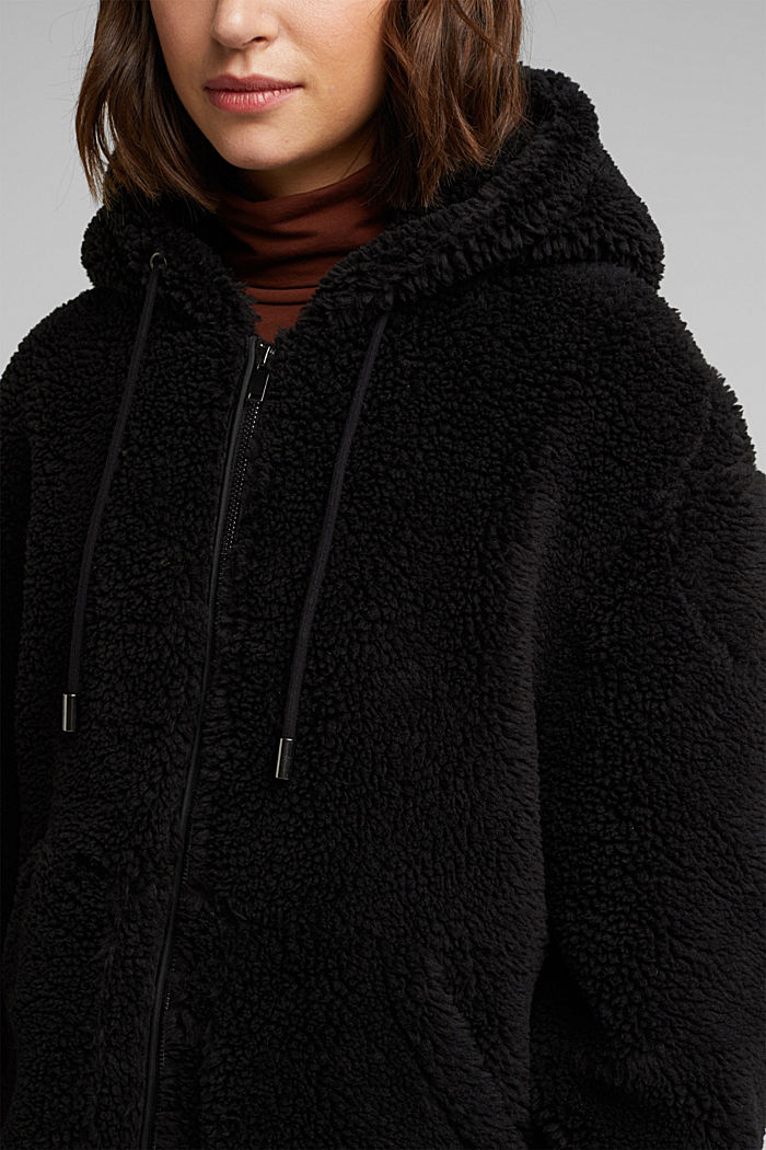 Teddy jacket with a hood, BLACK, detail image number 2