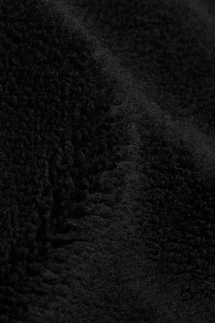 Giacca in peluche con cappuccio, BLACK, detail image number 4