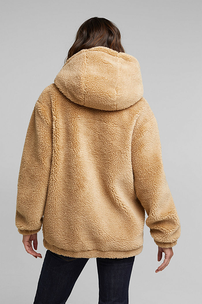 Teddy jacket with a hood, BEIGE, detail image number 3