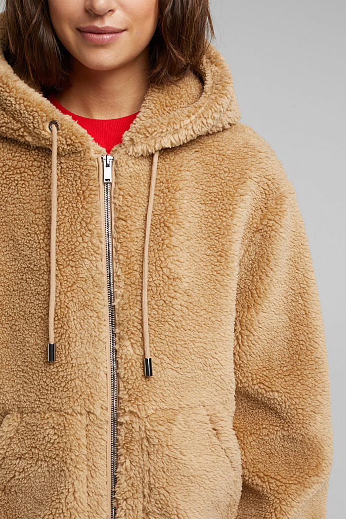 Teddy jacket with a hood, BEIGE, detail image number 2