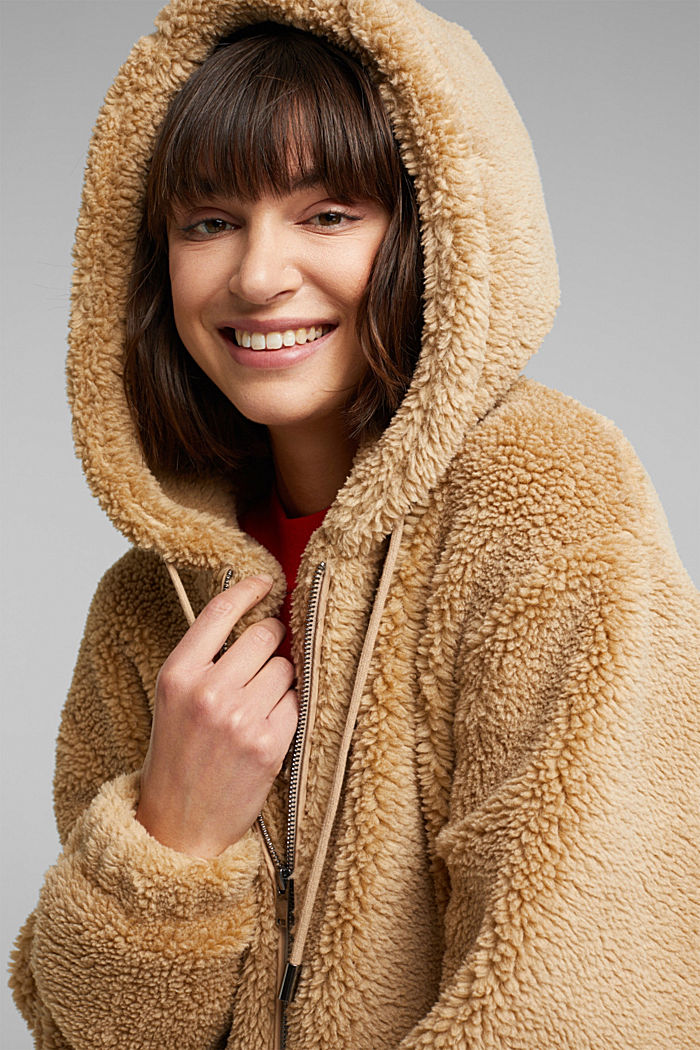 Teddy jacket with a hood, BEIGE, detail image number 5