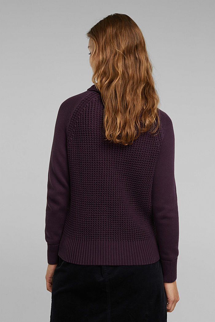 Jumper made of 100% organic cotton, AUBERGINE, detail image number 3