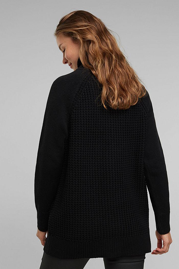 Cotton blend cardigan, BLACK, detail image number 3