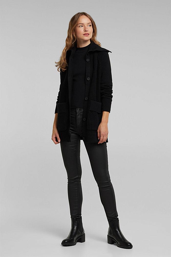 Cotton blend cardigan, BLACK, detail image number 1