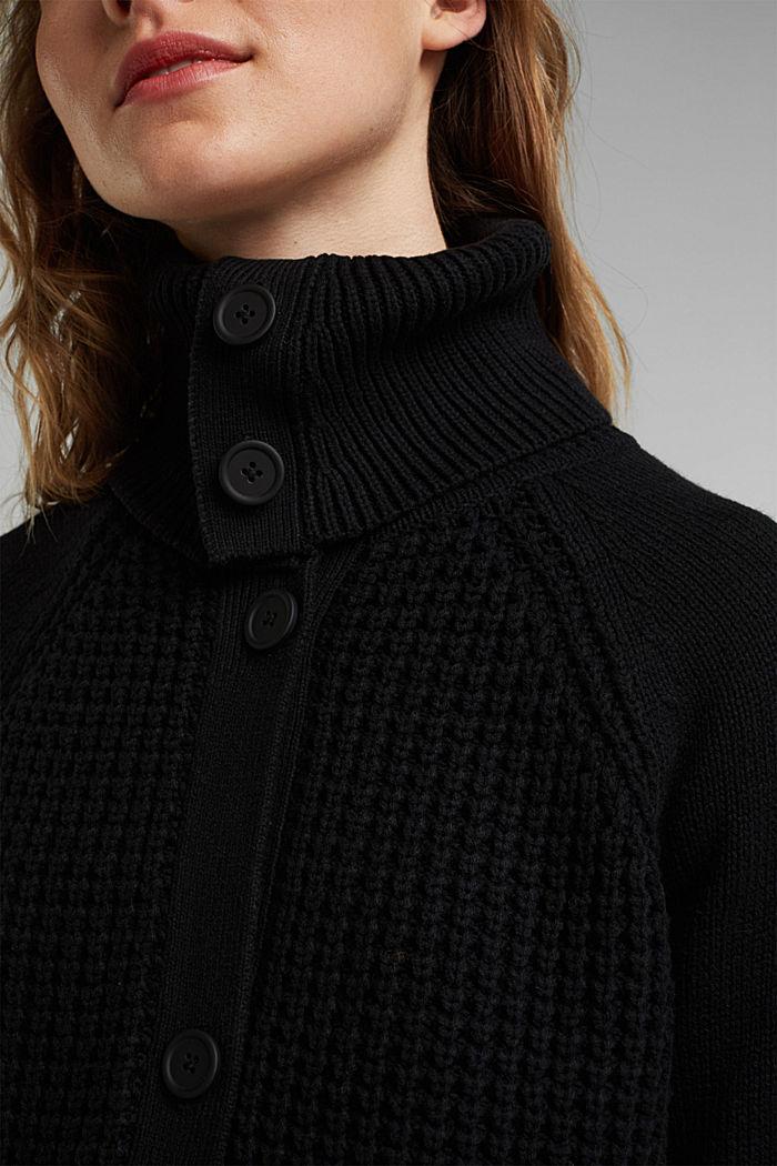 Cotton blend cardigan, BLACK, detail image number 2