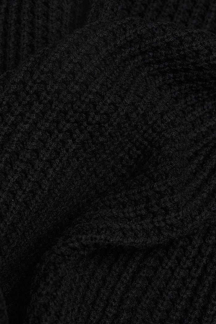 Cotton blend cardigan, BLACK, detail image number 4