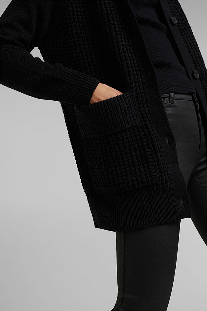 Cotton blend cardigan, BLACK, detail image number 5