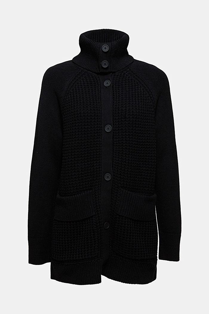 Cotton blend cardigan, BLACK, detail image number 6