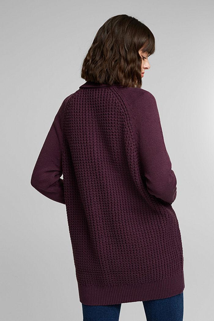 Cotton blend cardigan, AUBERGINE, detail image number 3