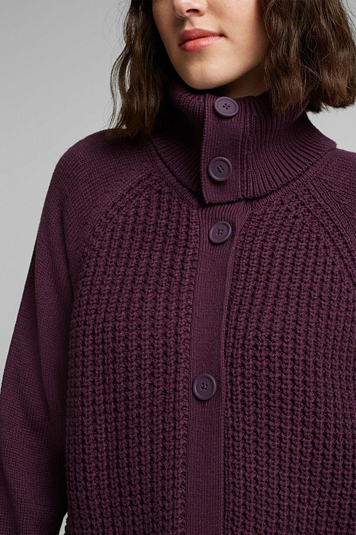 Cotton blend cardigan, AUBERGINE, detail image number 2