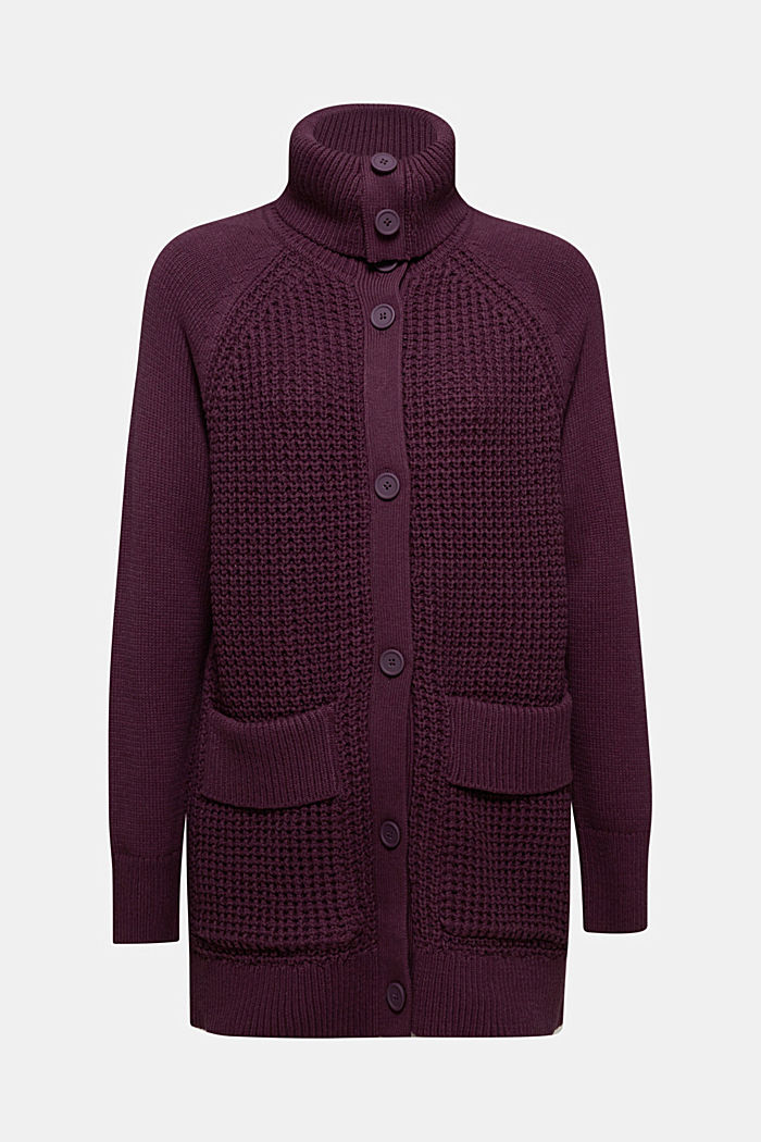 Cotton blend cardigan, AUBERGINE, overview