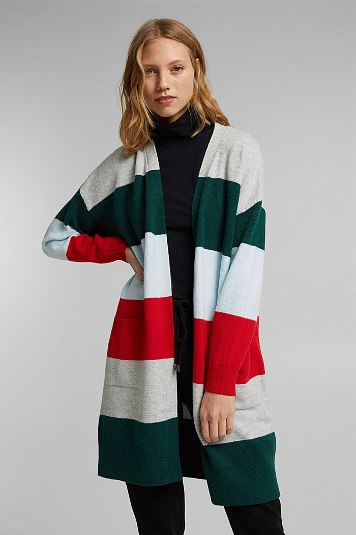 Wool blend: striped long cardigan, RED, detail image number 0