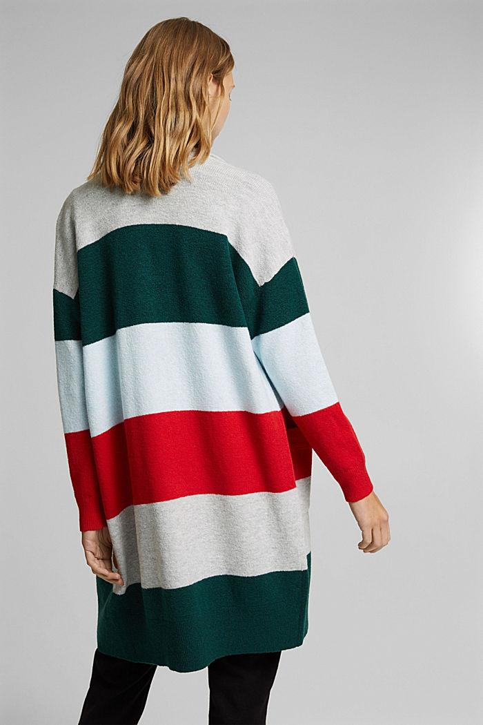Wool blend: striped long cardigan, RED, detail image number 3