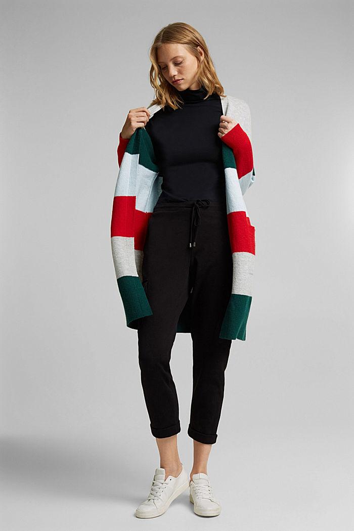 Wool blend: striped long cardigan, RED, detail image number 1