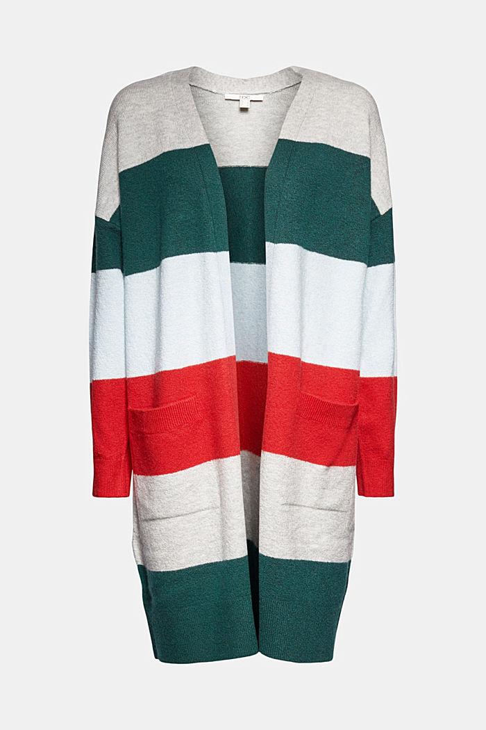 Wool blend: striped long cardigan
