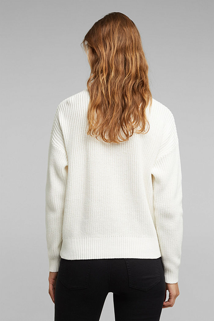 Zip neck jumper made of 100% organic cotton, OFF WHITE, detail image number 3