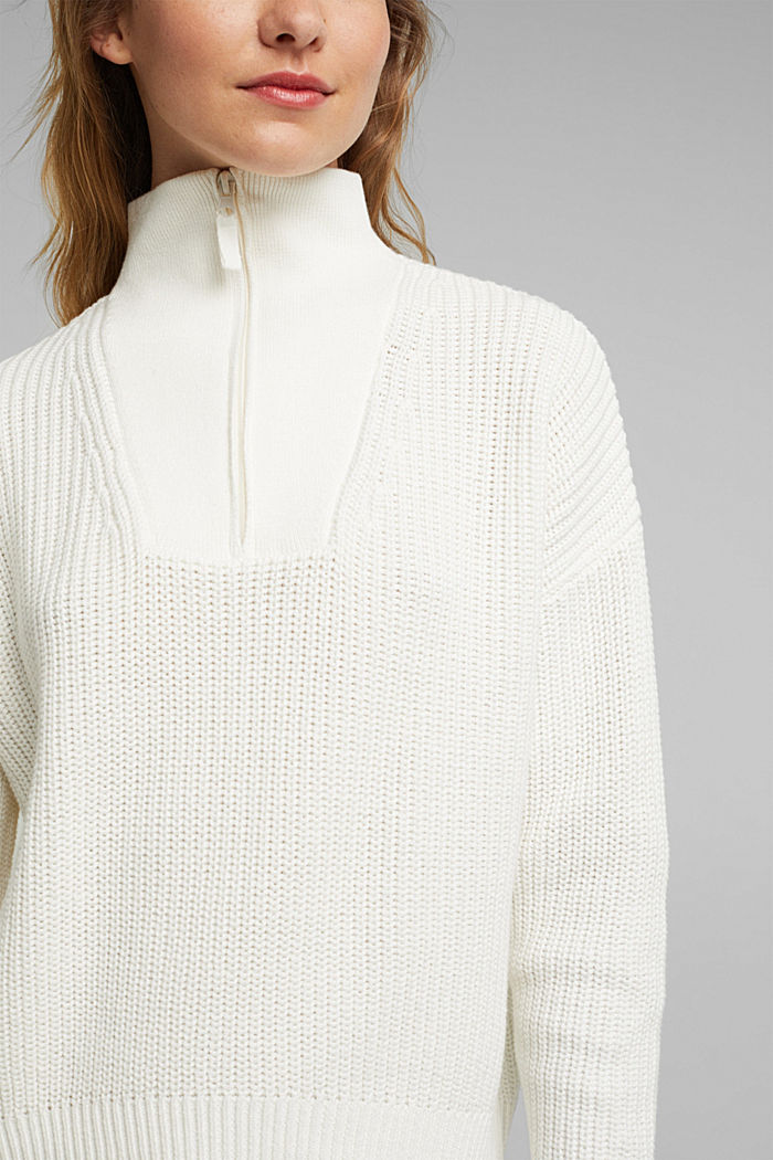 Zip neck jumper made of 100% organic cotton, OFF WHITE, detail image number 2