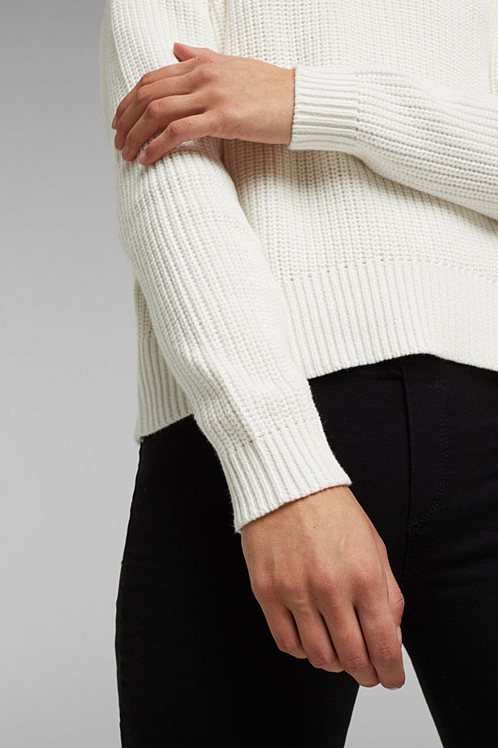 Zip neck jumper made of 100% organic cotton, OFF WHITE, detail image number 5