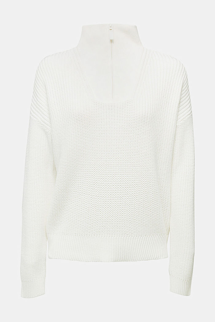 Zip neck jumper made of 100% organic cotton, OFF WHITE, overview