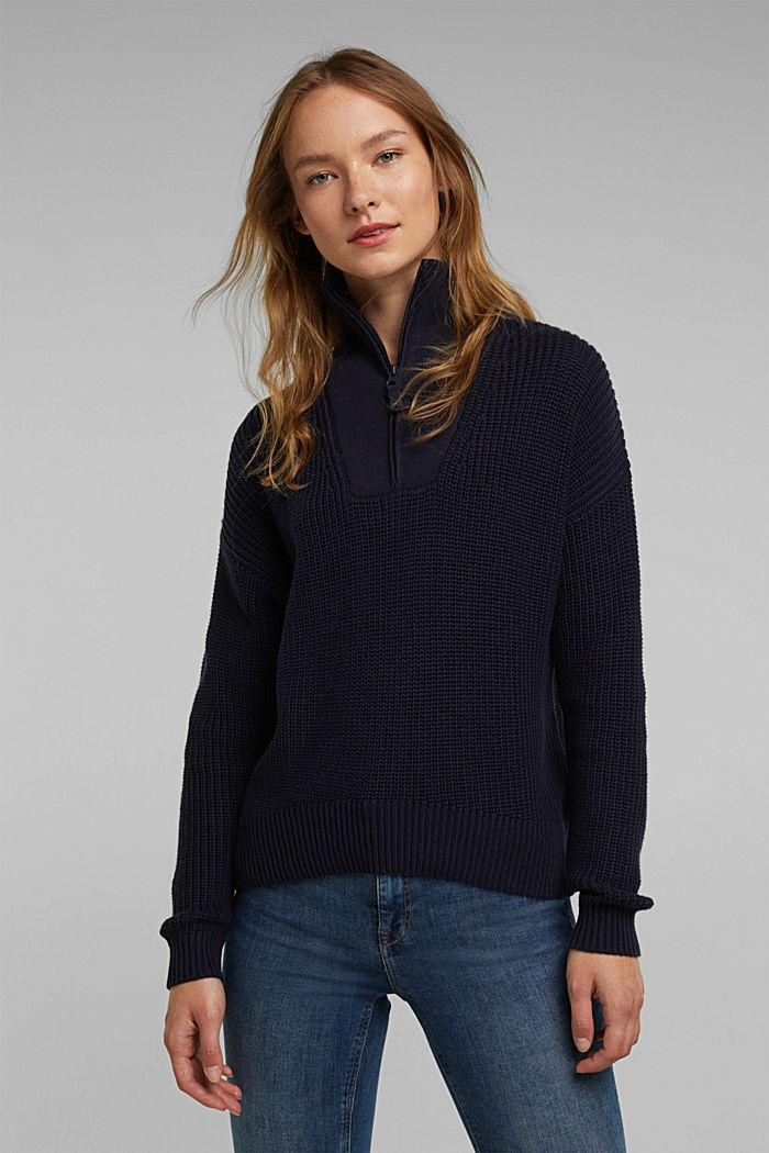 Zip neck jumper made of 100% organic cotton, NAVY, detail image number 0
