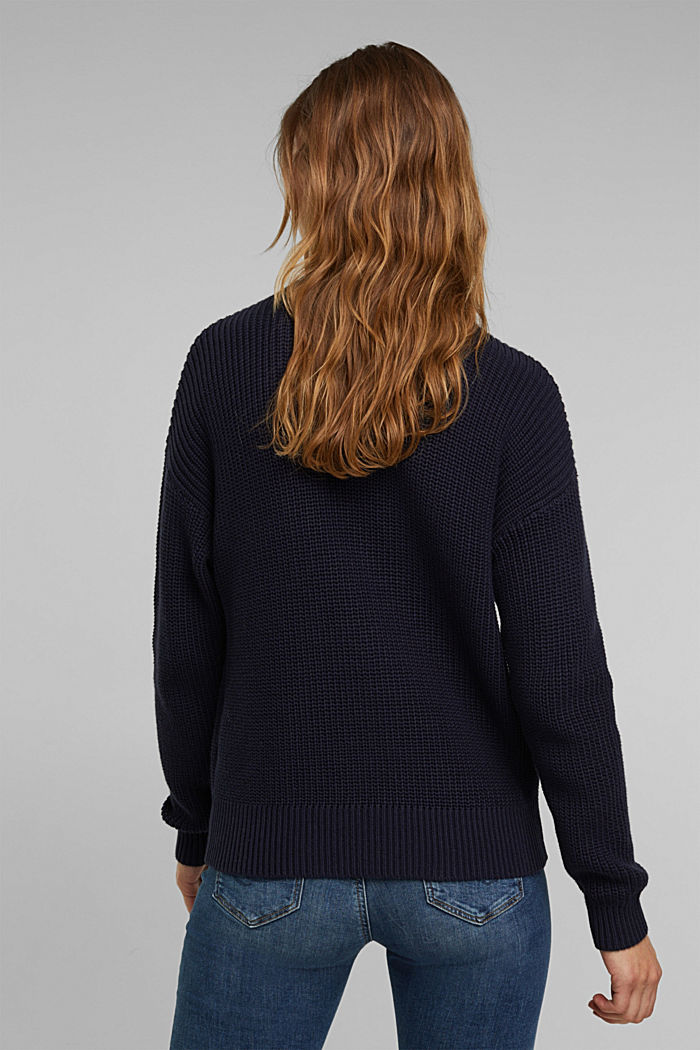Zip neck jumper made of 100% organic cotton, NAVY, detail image number 3