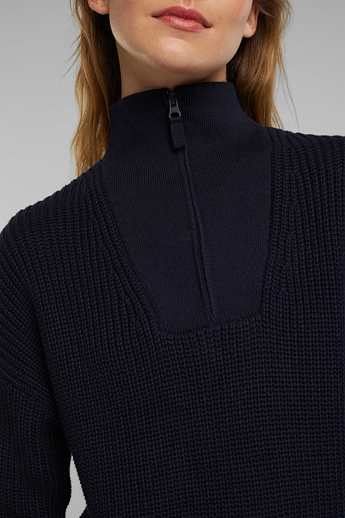 Zip neck jumper made of 100% organic cotton, NAVY, detail image number 2