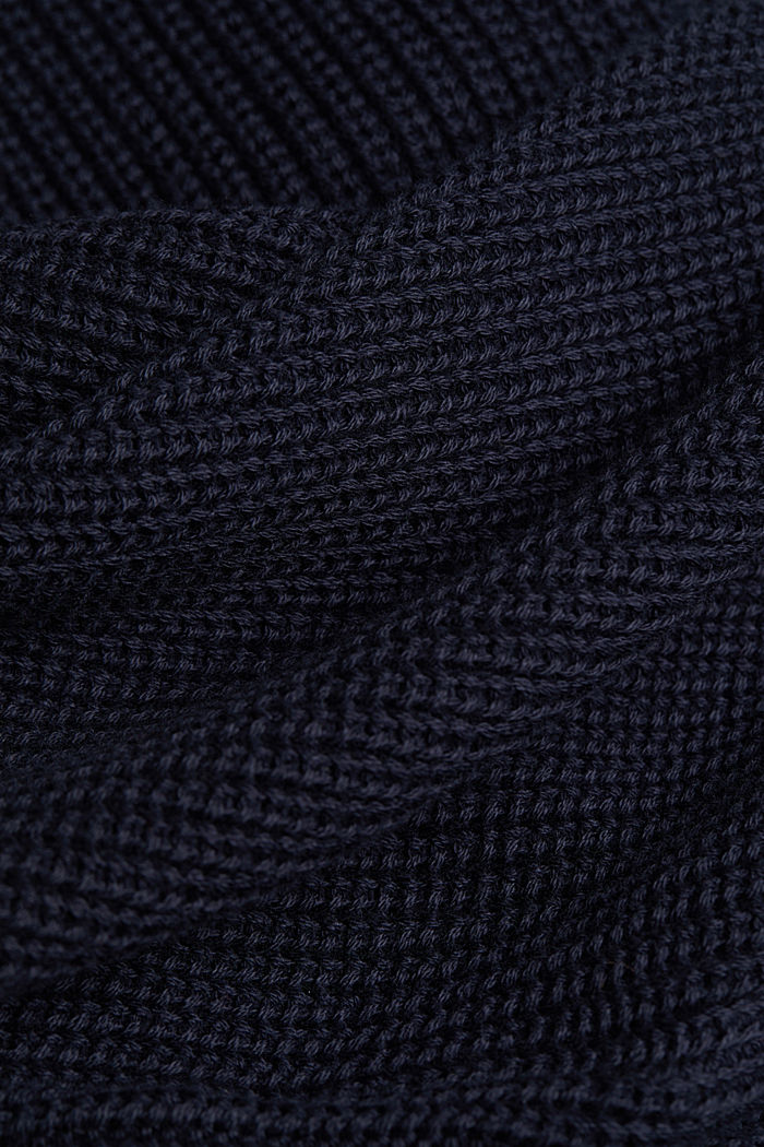 Zip neck jumper made of 100% organic cotton, NAVY, detail image number 4
