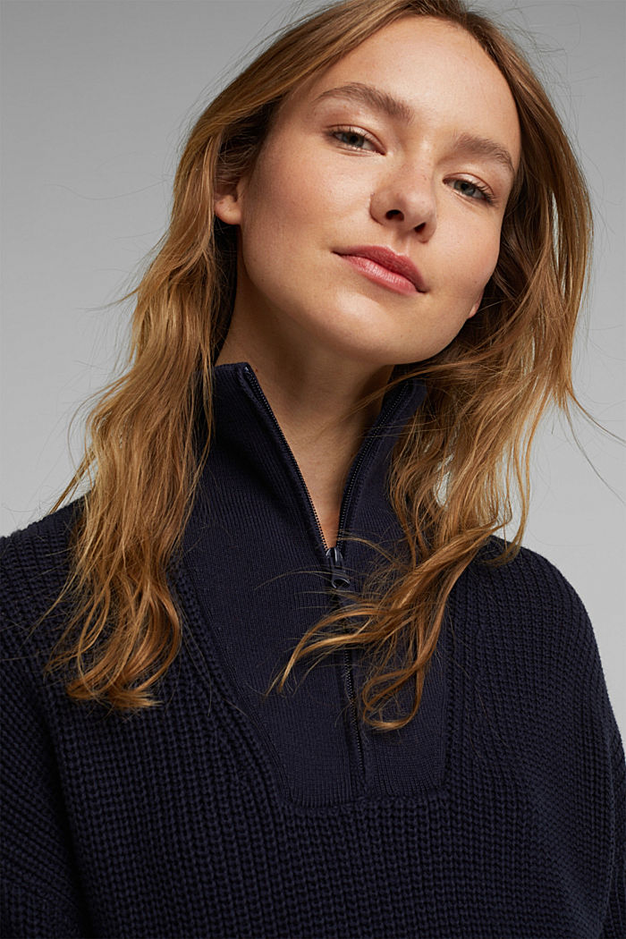 Zip neck jumper made of 100% organic cotton, NAVY, detail image number 6