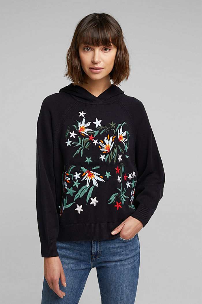 Embroidered, knit hoodie, 100% organic cotton, BLACK, detail image number 0