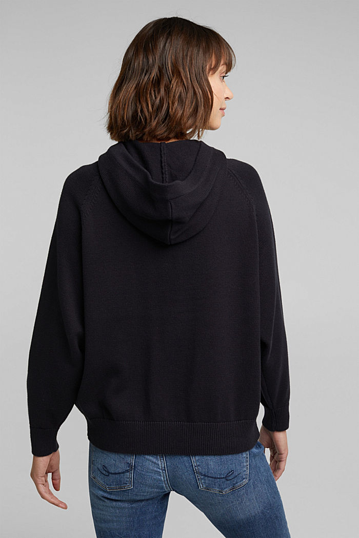 Embroidered, knit hoodie, 100% organic cotton, BLACK, detail image number 3