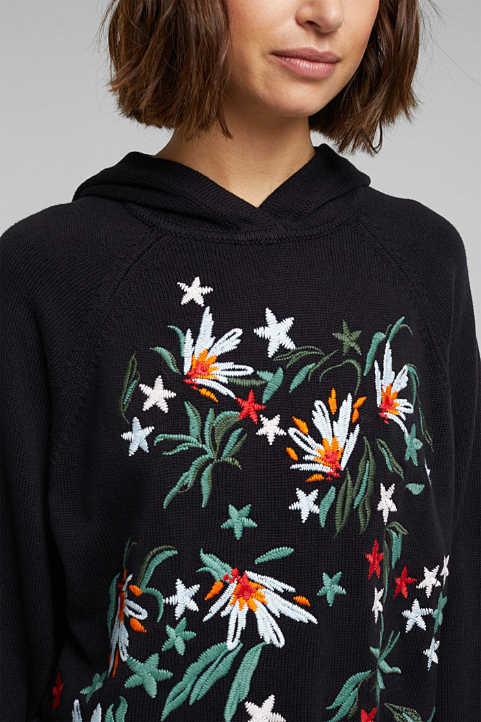 Embroidered, knit hoodie, 100% organic cotton, BLACK, detail image number 2