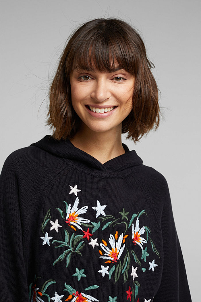 Embroidered, knit hoodie, 100% organic cotton, BLACK, detail image number 5